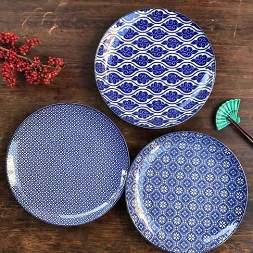 【Tokyo 藍紋系列 七寸平盤三入組】